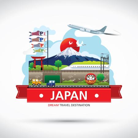 Ilustración de Japan Icons Design Travel Destination Concept, Travel design templates collection, Info graphic elements for traveling to Japan, Vector - Imagen libre de derechos