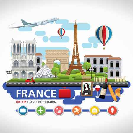 Illustration for Paris,France Vector travel destinations icon set, Info graphic elements for traveling to France. - Royalty Free Image