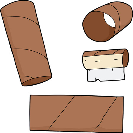 Illustration for Series of empty toilet paper tubes on isolated background - Royalty Free Image