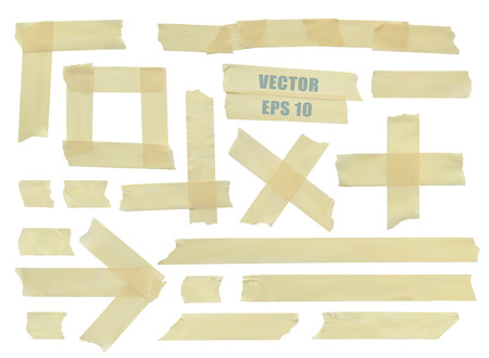 Illustration pour Set of various adhesive tape pieces.  - image libre de droit