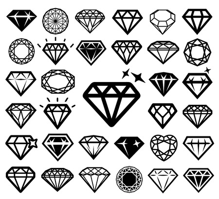 Illustration for Diamond icons set. - Royalty Free Image