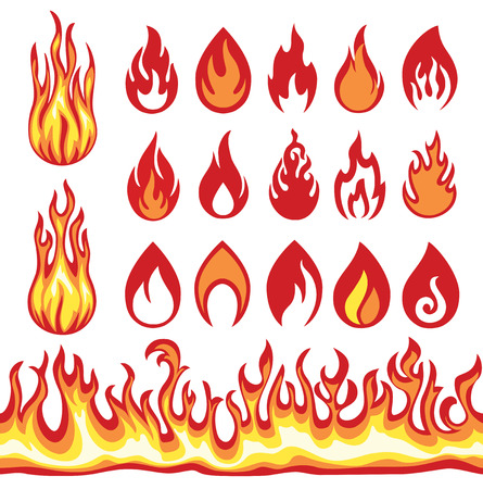 Illustration for Set of Flame icons. Fire symbols. - Royalty Free Image