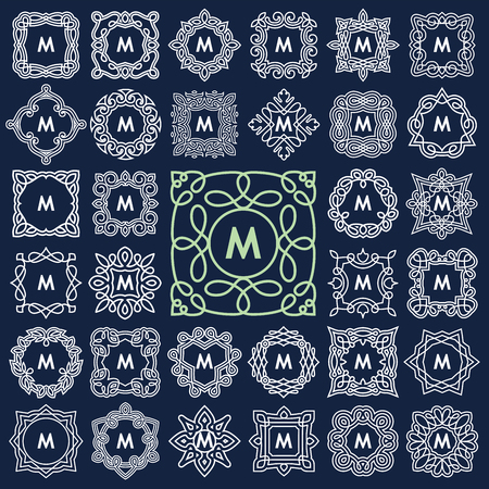 Illustrazione per Set of elegant monogram design. Vector illustration. - Immagini Royalty Free