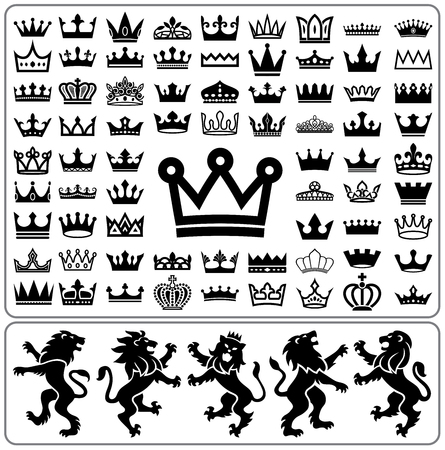 Illustration for Set of crowns and lion rampant. Heraldry elements design collection.  - Royalty Free Image