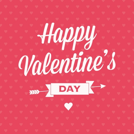 Happy Valentine's day card with ribbons and background pattern semaless heart