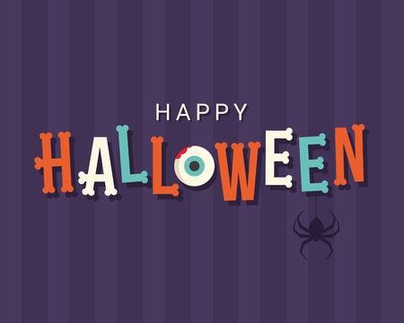 Halloween card, halloween logo title, bones font, editable vector design