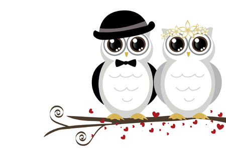 Illustration pour adorable couple wedding cute owls vector - image libre de droit