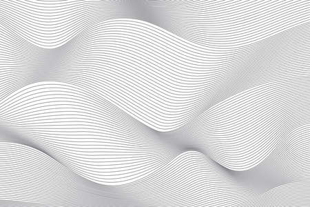 Illustration pour Abstract background pattern made with repeated lines in wave abstraction. Simple, modern, creative geometric vector art. - image libre de droit
