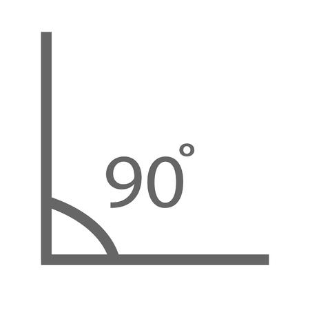 Illustration for Angle 90 degrees icon on white background. - Royalty Free Image