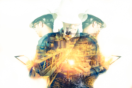 Photo pour Double exposure of Engineer or Technician man with safety helmet operated platform or plant by using tablet with offshore oil and gas platform background for oil and gas business concept - image libre de droit