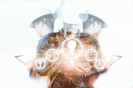 Photo for Double exposure of Engineer or Technician man with industry tool icons for management business by using tablet with safty helmet & uniform for oil and gas industrial business concept. - Royalty Free Image