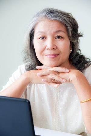 Photo pour happy senior asian woman  - image libre de droit