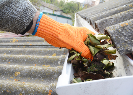 Foto de Rain Gutter Cleaning from Leaves in Autumn with hand. Roof Gutter Cleaning Tips. Clean Your Gutters Before They Clean Out Your Wallet. Gutter Cleaning. - Imagen libre de derechos