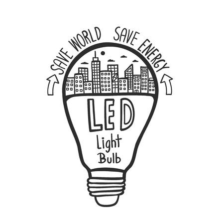 Illustration pour Doodle hand drawn LED light bulb. - image libre de droit