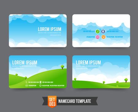 Illustration pour Nature sky cloud field concept business card template vector illustration - image libre de droit