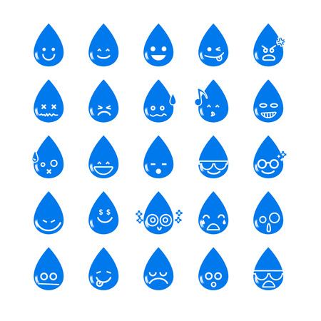 Ilustración de Collection of difference emoticon water drop icon on the white background vector illustration - Imagen libre de derechos