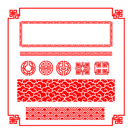 Illustration for Chinese happy new year red border for decoration design element illustration - Royalty Free Image