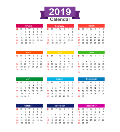 Illustration for 2019 Year calendar isolated on white background vector illustration - Royalty Free Image