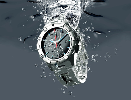 Photo pour metal wrist watch is under water. - image libre de droit