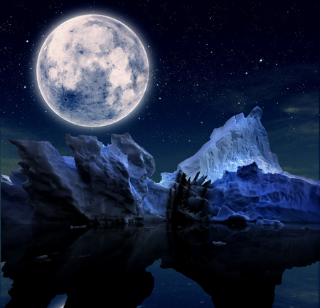 Foto per iceberg with starry night and a full moon. - Immagine Royalty Free