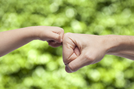 Foto de Father and son punching fists/hands for agreement on green nature background - Imagen libre de derechos
