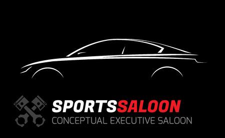 Illustration pour Modern Executive Sports Saloon Vehicle Silhouette Concept Car Design - image libre de droit