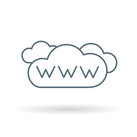 Illustration pour www internet cloud icon. www internet cloud sign. www internet cloud symbol. Thin line icon on white background. Vector illustration. - image libre de droit
