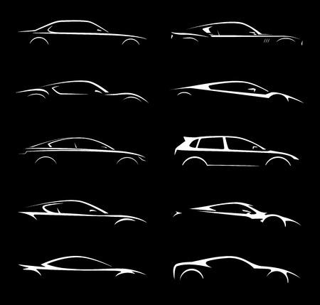 Illustration pour Concept Car Vehicle Silhouette Vector Collection Set Design - image libre de droit