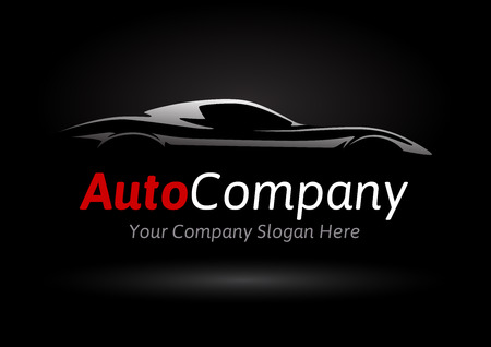 Illustration pour Modern Auto Company Design Concept with Sports Car Silhouette on black background. Vector illustration. - image libre de droit