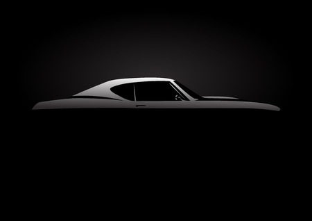 Ilustración de Design Concept with classic American style muscle car silhouette on black background. Vector illustration. - Imagen libre de derechos