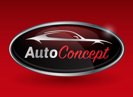 Illustration pour Concept automotive vehicle emblem design with chrome badge of sports vehicle silhouette on red background. Vector illustration. - image libre de droit