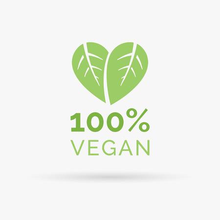 Illustration for 100 vegan icon design. 100 vegan symbol design. Vegan food sign with leaves in heart shape design. Vector illustration. - Royalty Free Image