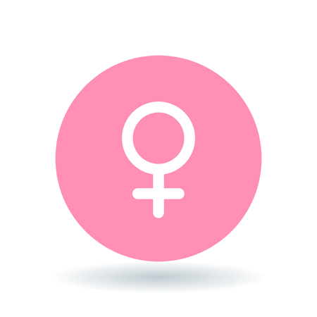 Ilustración de Female gender icon. Ladies sign. Women symbol. White female symbol on pink circle background. Vector illustration. - Imagen libre de derechos
