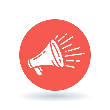 Ilustración de Loudspeaker icon. Megaphone sign. Announcement symbol. White loudspeaker sale icon on red circle background. Vector illustration. - Imagen libre de derechos