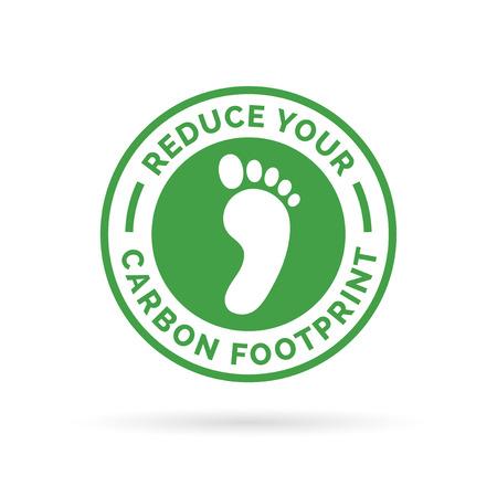Ilustración de Reduce your carbon footprint icon symbol with green environment footprint badge. - Imagen libre de derechos
