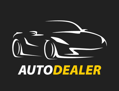 auto dealer original concept car icon with sports supercar vehicle figure on black background. Vector illustration.