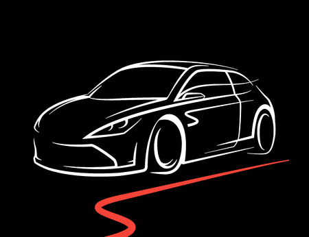 Original concept car drawing with supercar sports vehicle line style silhouette on black background. Vector illustration.