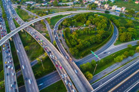 Photo pour Transport junction traffic road with vehicle movement aerial view by drone - image libre de droit
