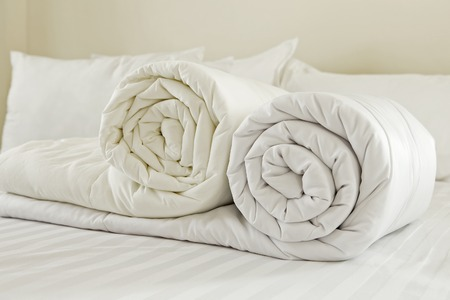 Photo pour Duvet roll  down filled duvet rolled up isolated on white background - image libre de droit