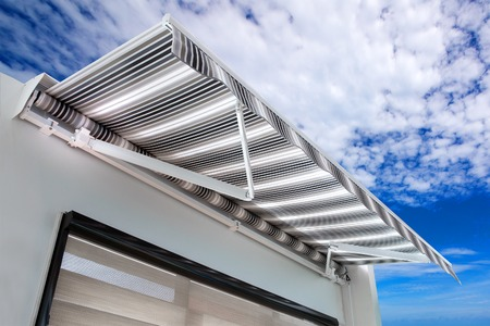 Foto de Canvas awning with a sky background - Imagen libre de derechos