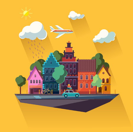 Illustration pour Urban landscape  Flat design  - image libre de droit