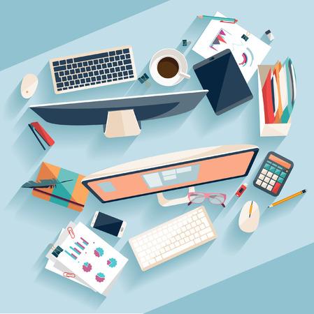 Ilustración de Workplace concept. Flat design. - Imagen libre de derechos
