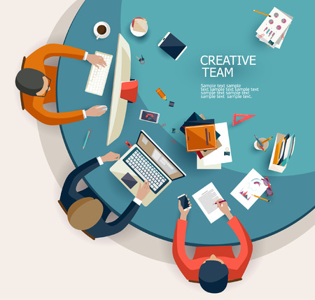 Ilustración de Business meeting and brainstorming. Flat design. - Imagen libre de derechos