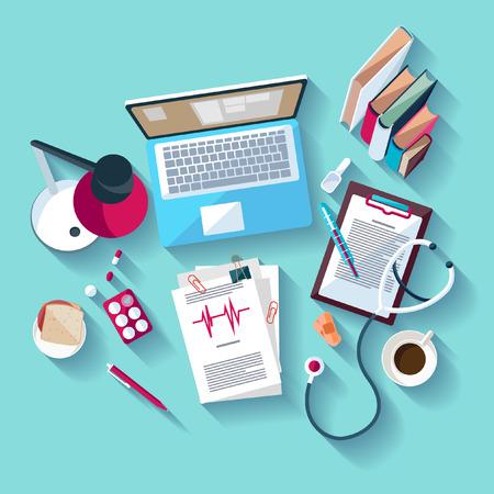 Illustration pour Medical workplace. Flat design. - image libre de droit