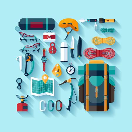 Illustration pour Climbing equipment. Flat design. - image libre de droit