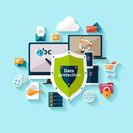Illustration pour Data protection and safe work. Flat design. - image libre de droit