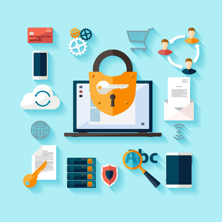 Illustration pour Data protection and safe work. Flat design. - image libre de droit