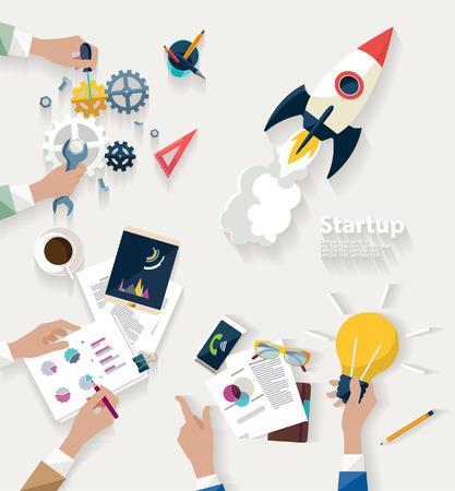 Illustration pour Startup concept. Flat design. - image libre de droit
