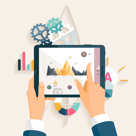 Illustration pour Market analysis. Flat design. - image libre de droit