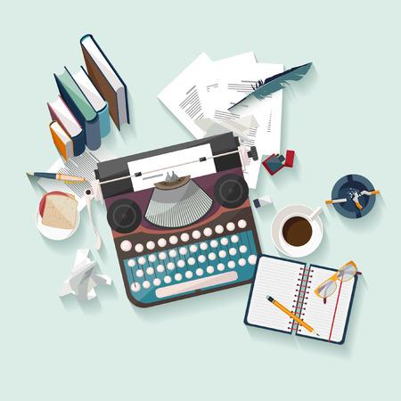 Illustration pour Workplace writer. Flat design. - image libre de droit